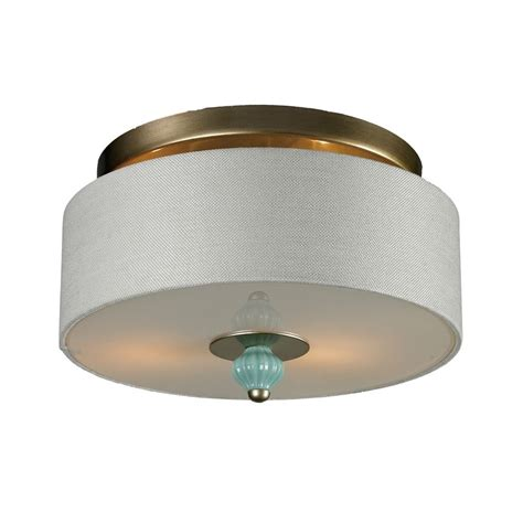 Semi Flushmount Drum Ceiling Light With White Shade Shade Ceiling Light
