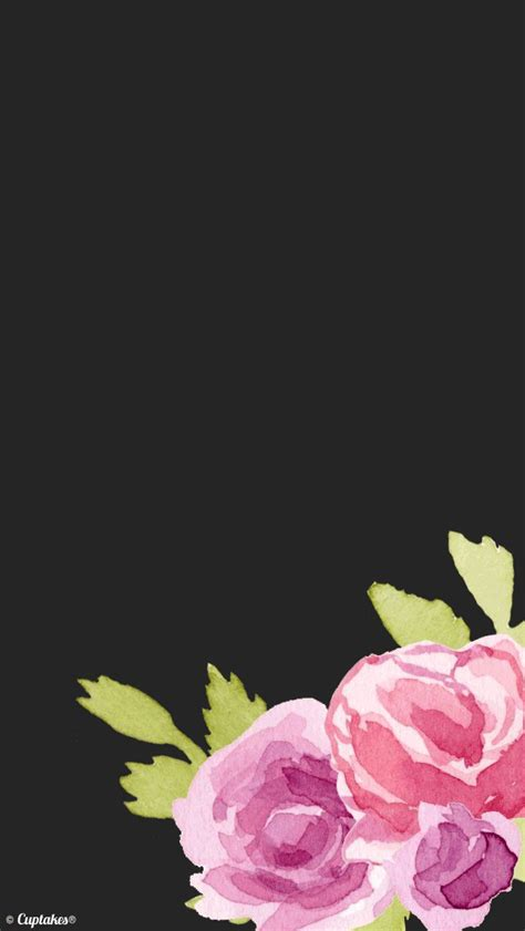 black pink watercolour floral roses iphone background