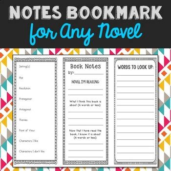 novel notes template note taking bookmark template for any novel two sided
