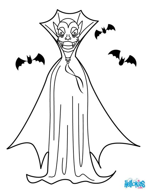 Dracula black cloak coloring pages - Hellokids.com