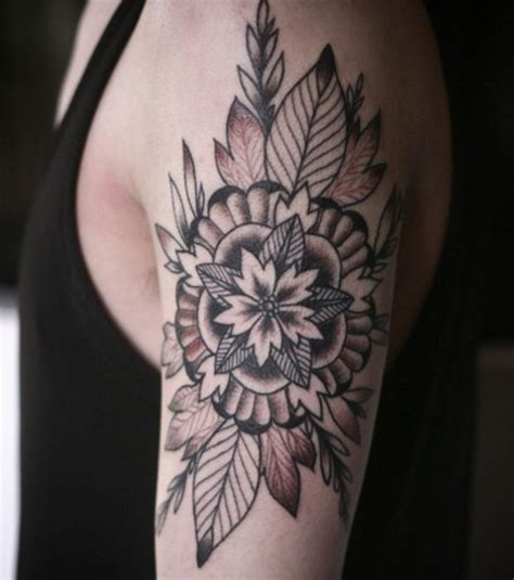 tattoo flower leaf flower with leaves tattoo related keywords flower with