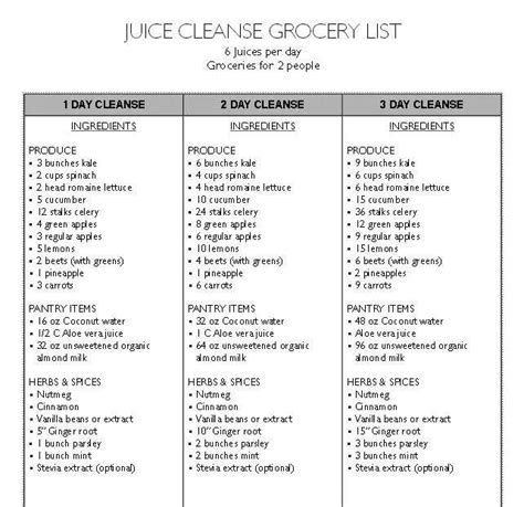 Lifetime Detox Shopping List by Juice Cleanse Grocery List Health Time