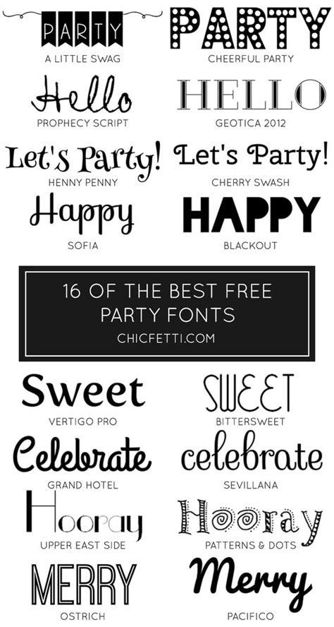 free printable birthday fonts 16 free party fonts lettertypen feestje uitnodigingen