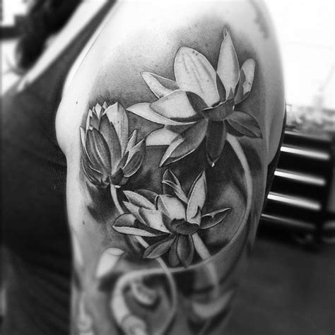 48 Best Realistic Lotus Tattoos Images On Pinterest Realistic Black And Grey Flower Tattoos