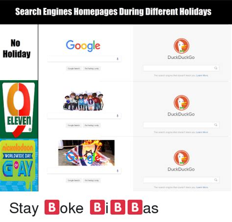 Meme Search Engine - search engines homepages during different holidays no