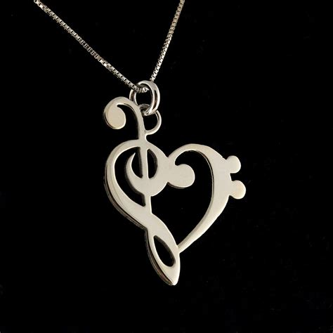 note necklace g clef bass clef clef necklace shiny