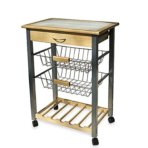 rolling carts for kitchen rolling kitchen cart with two baskets bed bath beyond
