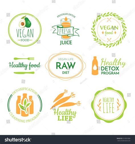 Proper Detox by Detox Logo Vegetarian Useful Meal Stock Vector