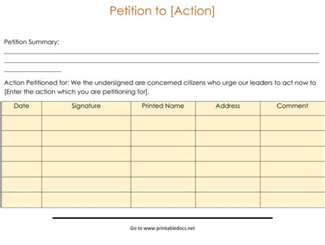 15 Professional Petition Template And Sles Petition Form Template
