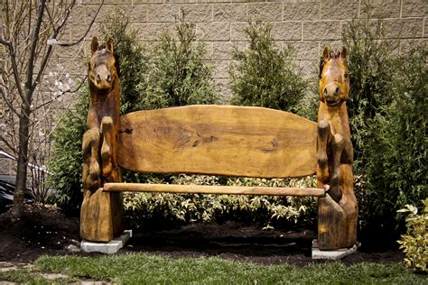 wooden horse bench carved horse bench custom wood carvings more