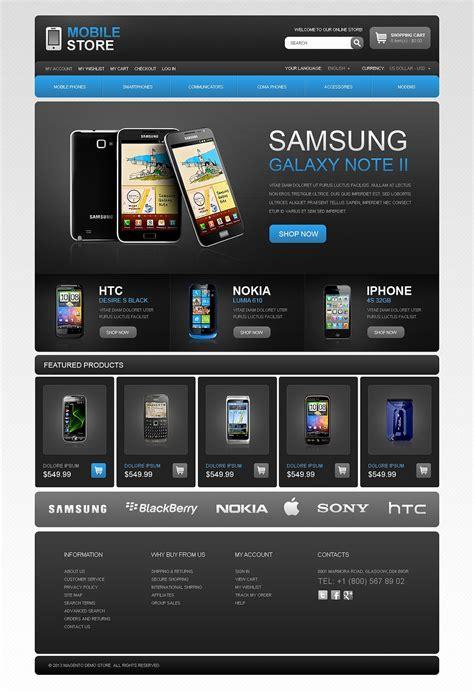 mobile themes website dark mobile phone theme magento theme web design