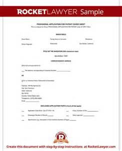 Provisional Patent Application Template by Provisional Patent Application Form Free Template With