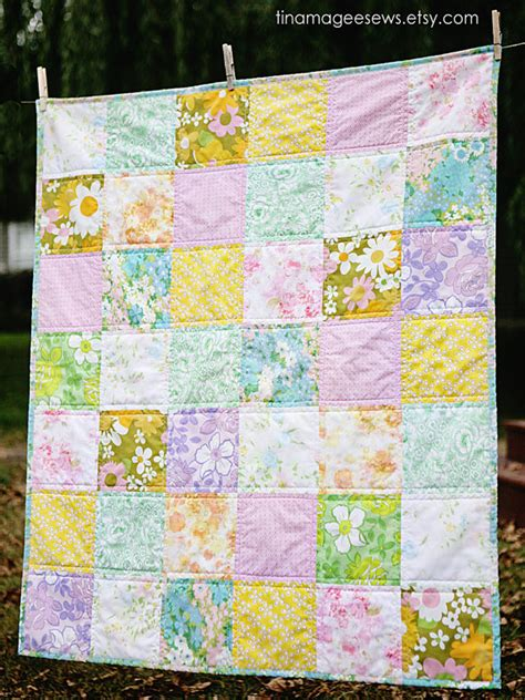 Patchwork Sheets - patchwork baby quilt vintage sheets