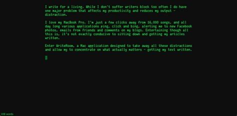 Write Room by Writeroom Brings Distraction Free Writing To Mac Os X