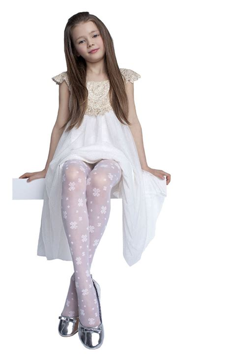 tween pattern leggings hope kids tights 20 den white hosiery age 5 10 girls