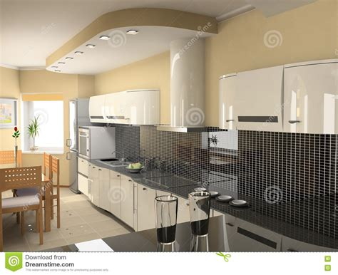 modern kitchen interior 3d rendering modern kitchen interior royalty free stock photography