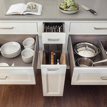 kitchen island cutting board 2018 custom pot and pan lid drawer with dividers transitional kitchen