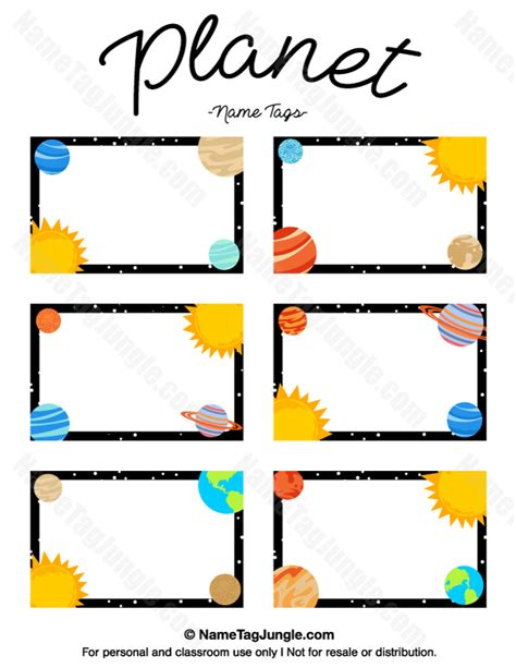 Free Printable Planet Name Tags The Template Can Also Be Used For Creating Items Like Labels Planet Label Templates