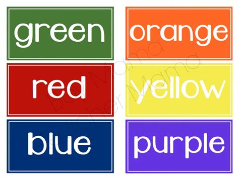Etiketten Farbig by Free Color Word Labels Boy