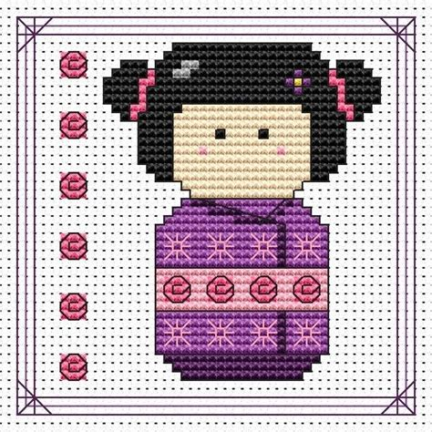 Dompet Ck Cross Stitched purple kokeshi doll card cross stitch kit cross stitch cat ck pk