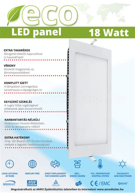 Panel Outbow Inss624r 18 Watt v tac eco led panel n 233 gyzet alak 250 18 watt hideg f 233 nyű 193 r 2 080 ft led panel