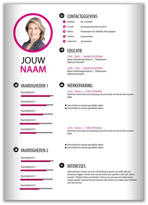 cv voorbeeld design 46 best images about cv templates van mooicv 1pg on
