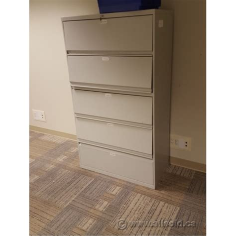 5 Drawer Front by Grey 36 Quot 5 Drawer Lateral Flip Front File Cabinet Locking