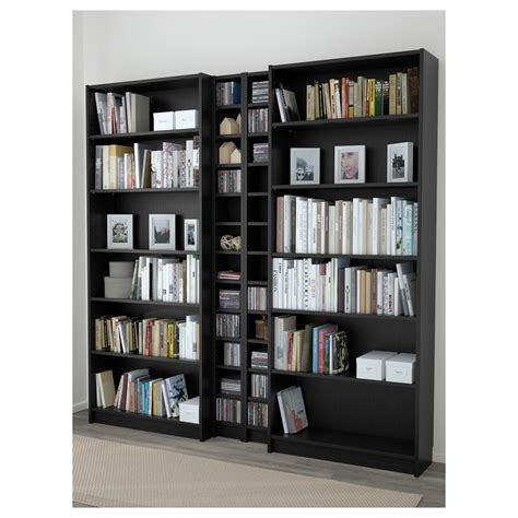 billy gnedby bookcase black brown 200x202x28 cm ikea