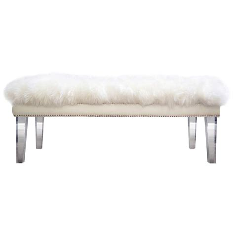 sheepskin bench tov furniture tov o22 luxe bench w white sheepskin on