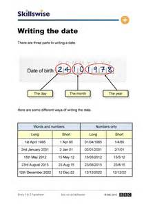 writing the date