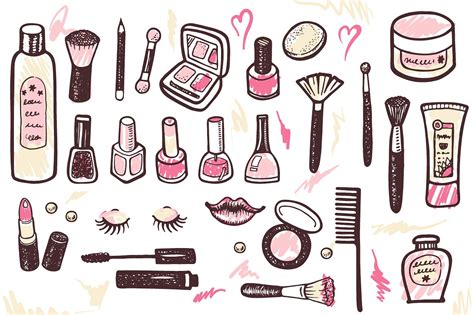 how to make a doodle sign up cosmetics makeup kit 4 patterns illustrations