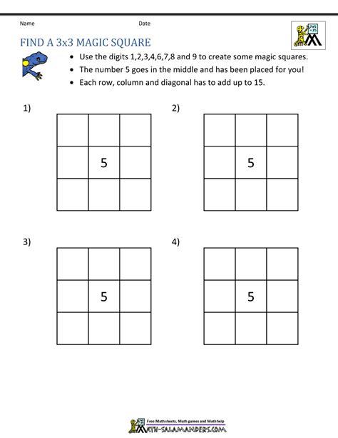 Magic Square Worksheet by Magic Square Worksheets