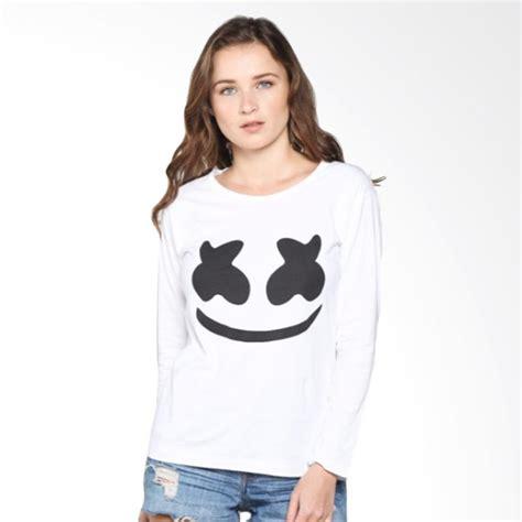 Kaos Bullshirt Lengan Panjang Putih jual marshmello t shirt kaos wanita lengan panjang putih harga kualitas