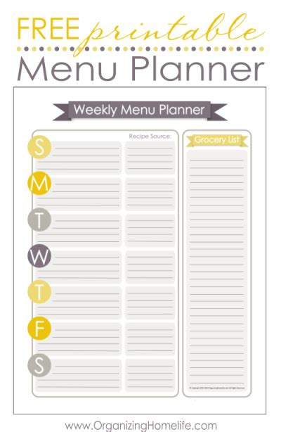 free printable grocery list with menu the rustic redhead grocery list weekly menu printables