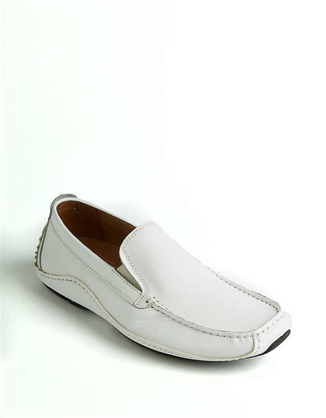 steve madden loafers for steve madden rocckit leather loafers in white for lyst