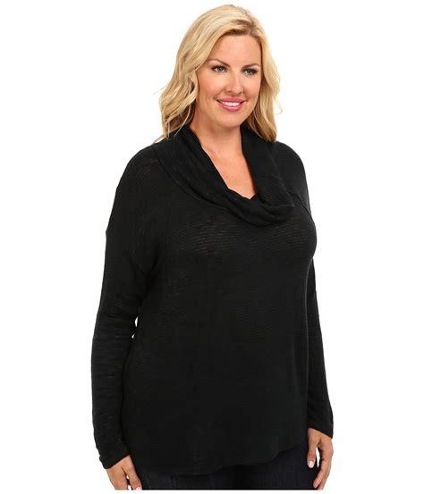 plus size knit sweater dkny plus size sweater knit cowl poncho in black noir lyst