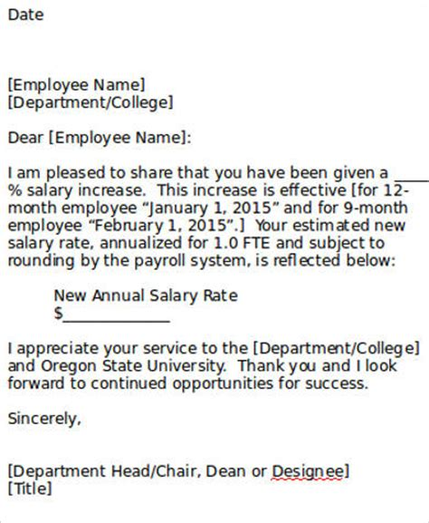 salary increment letter sle letter template in word 10 exles in word pdf
