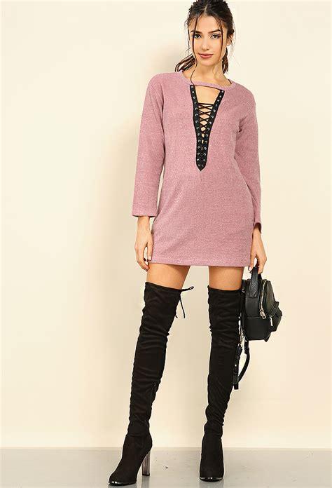 Dress Button Lace Jumper 1 lace up sweater dress shop dresses at papaya clothing