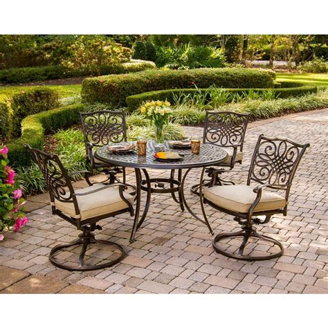 Patio Set With Swivel Chairs Hanover Traditions 5 Patio Outdoor Dining Set With 4 Cushioned Swivel Chairs And 48 In