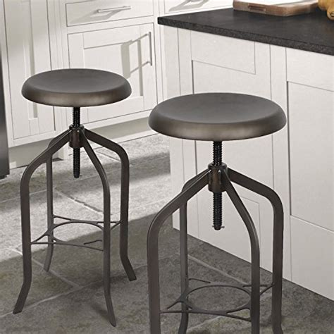Antique Brown Adjustable Counter Height Stool by Adeco Retro Swivel Adjustable Metal Counter Stool Barstool