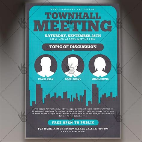 Community Meeting Premium Flyer Psd Template Free And Premium Psd Templates Pinterest Town Invite Template