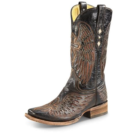 mens corral square toe boots corral s winged cross square toe cowboy boots 655426