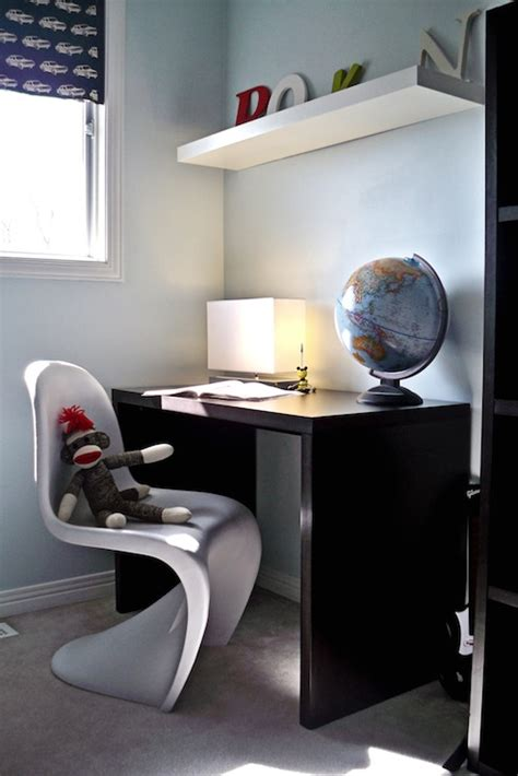 desk for boy white panton chair contemporary boy s room behr