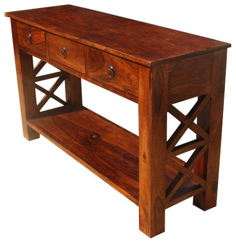 Entrance Console Table Solid Wood 2 Tier Entry Console Table Rustic Console Tables San Francisco By