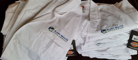 embroidered medical scrubs  lab coats