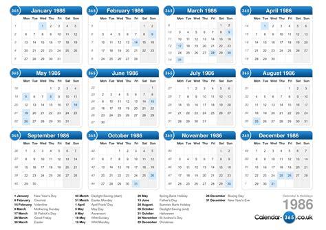 Calender Calendar Calendar 1986