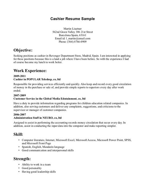 Exle Resume For Cashier Objectives Cashier Resume Sle Sle Resumes