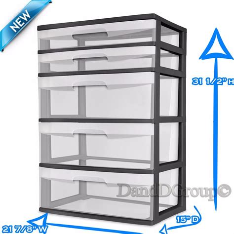 Plastic Drawer Tower Storage by Sterilite 5 Drawer Wide Tower Storage Organizer Cabinet