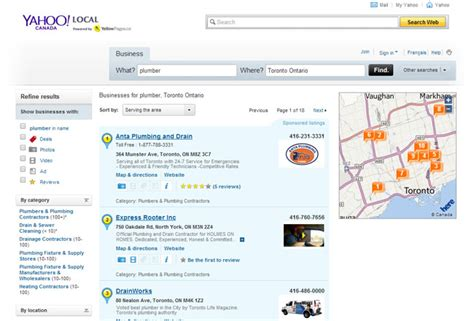 Yahoo Canada Search Yahoo Updates Local Results New Integration From Yelp