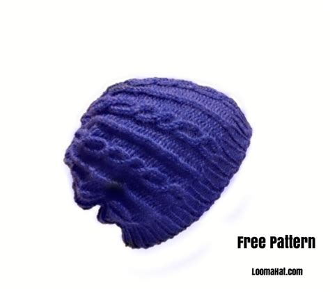 cable knit on loom hat blue slouchy 60 rnds loomahat